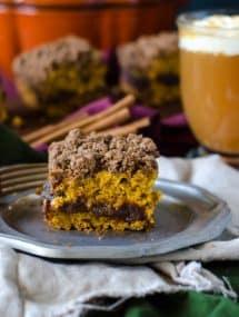 Pumpkin Coffeecake with Cinnamon Streusel and Apple Butter Filling @gogogogourmet