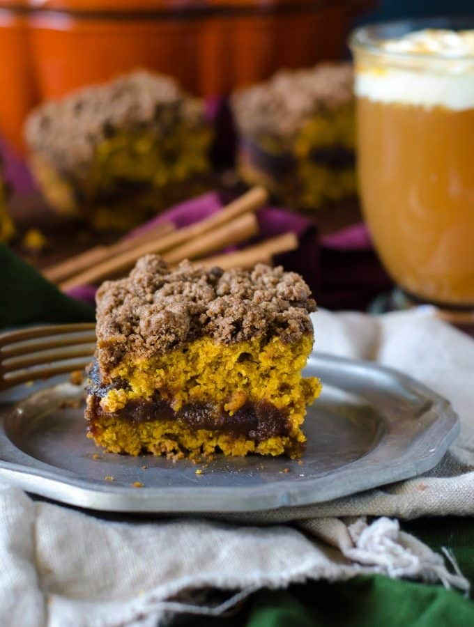 Pumpkin Coffeecake with Cinnamon Streusel and Apple Butter Filling