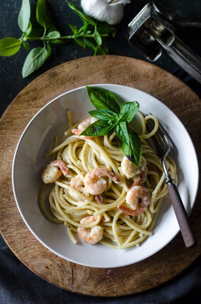 Bucatini and Shrimp in Garlic Basil Cream Sauce | @gogogogourmet