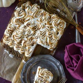 Apple Butter Pumpkin Pie Bars with Marshmallow Meringue @gogogogourmet