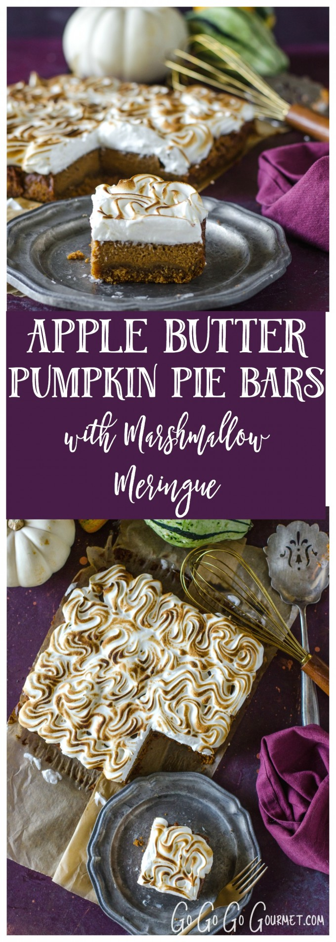 Apple Butter Pumpkin Pie Bars with Marshmallow Meringue Topping