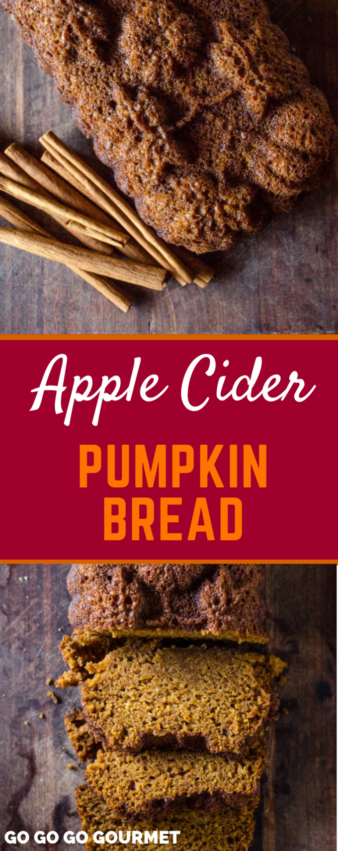 If you're looking for fall recipes and desserts, this is the one for you! This is the best Apple Cider Pumpkin Bread! Easy to make and super moist, this pumpkin bread is full of delicious fall flavors. #gogogogourmet #appleciderpumpkinbread #pumpkinrecipes #applerecipes