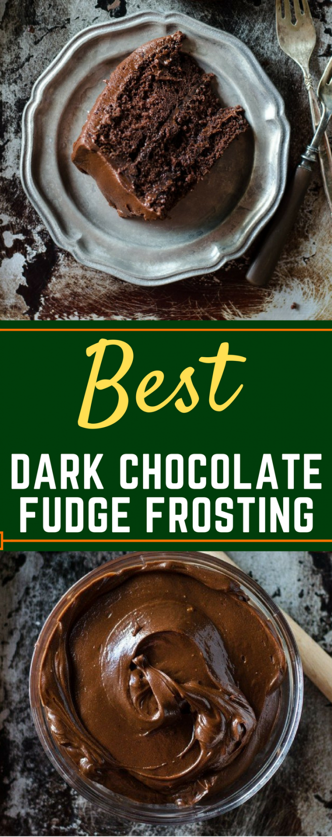 This is the BEST homemade Dark Chocolate Fudge Frosting recipe! It's perfect to top brownies, frost a yellow cake, or just eat by the spoon! You won't believe how easy it is to make homemade chocolate icing! #homemadechocolatefrosting #darkchocolatefudgefrosting #easydessertrecipes #gogogogourmet via @gogogogourmet