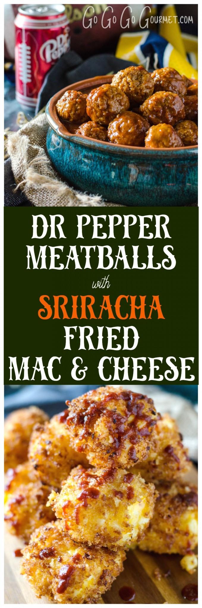 Dr Pepper Crockpot Meatballs with Sriracha Fried Mac & Cheese Bites