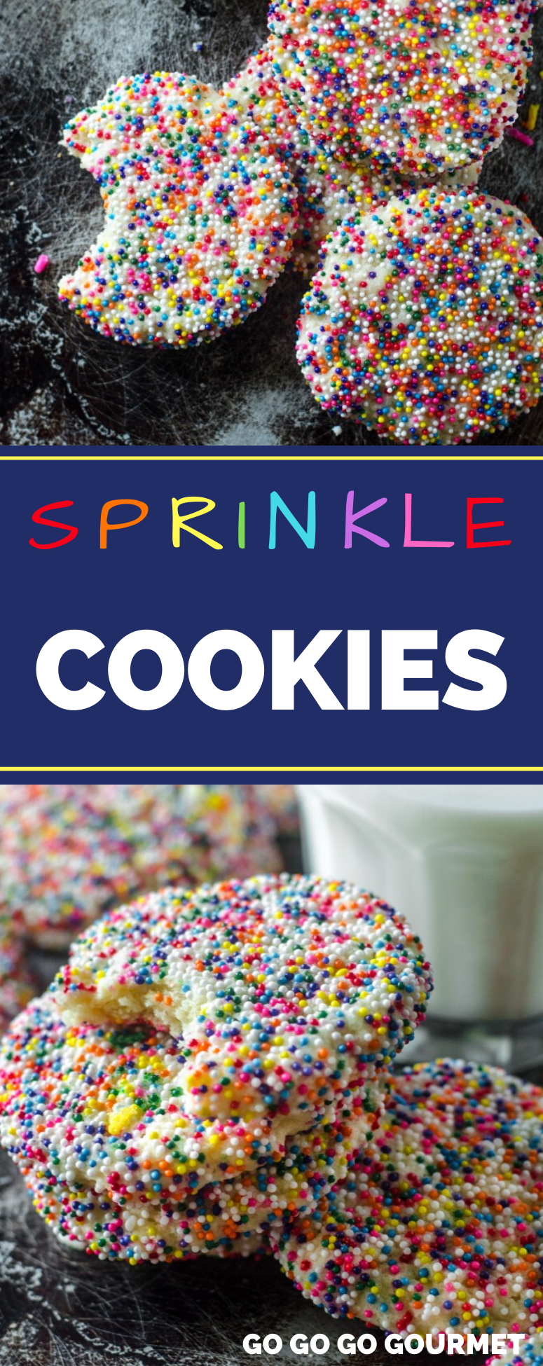 Whether you make these for fall or Christmas, this Italian Sprinkle Cookie recipe is the best! Decorated with rainbow sprinkles, these easy cookies are soft, chewy and totally delicious! Move over Pioneer Woman, there's a new cookie in town! #gogogogourmet #sprinklecookies #cookieswithsprinkles #easycookierecipes  via @gogogogourmet