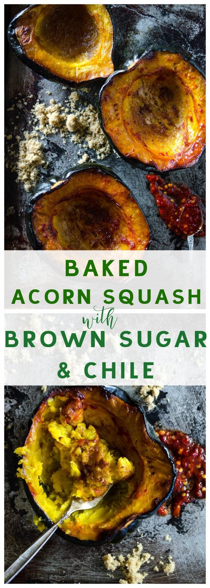 Baked Acorn Squash with Brown Sugar and Chile via @gogogogourmet