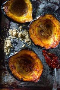 Baked Acorn Squash with Brown Sugar and Chile   @gogogogourmet