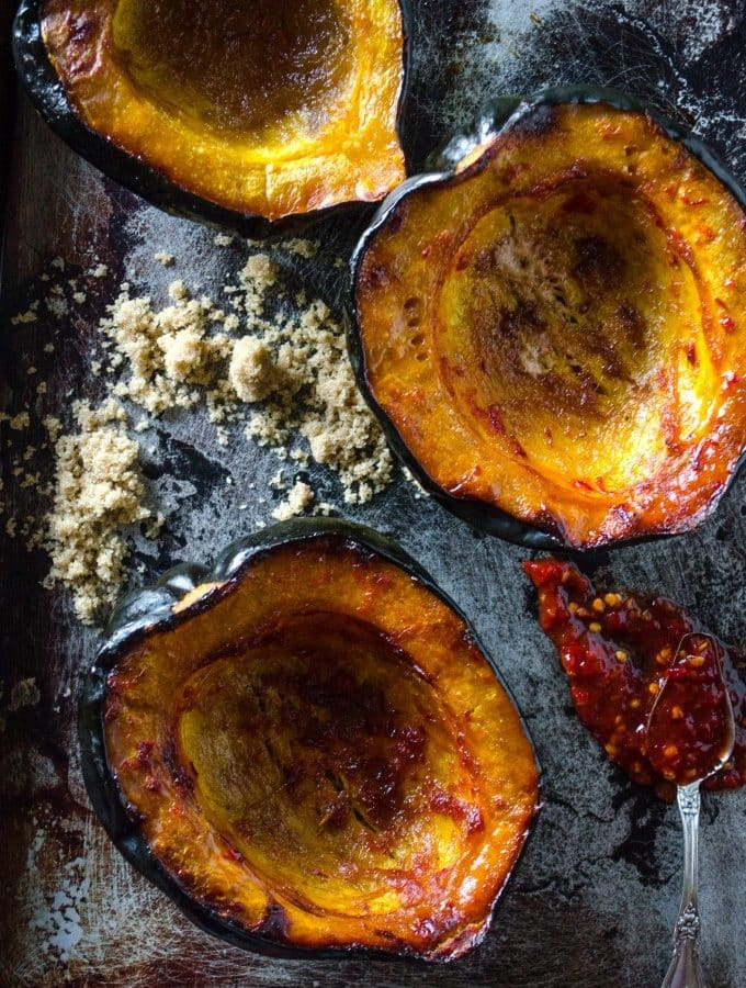Baked Acorn Squash with Brown Sugar and Chile | @gogogogourmet