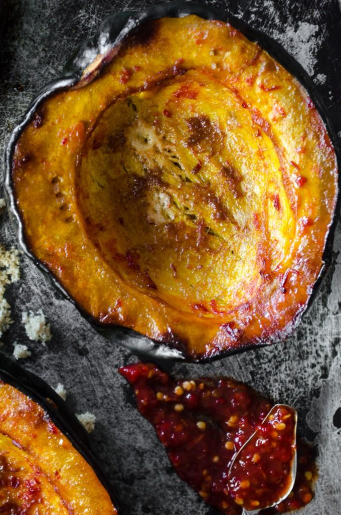 Baked Acorn Squash with Brown Sugar and Chile | @gogogogourmet