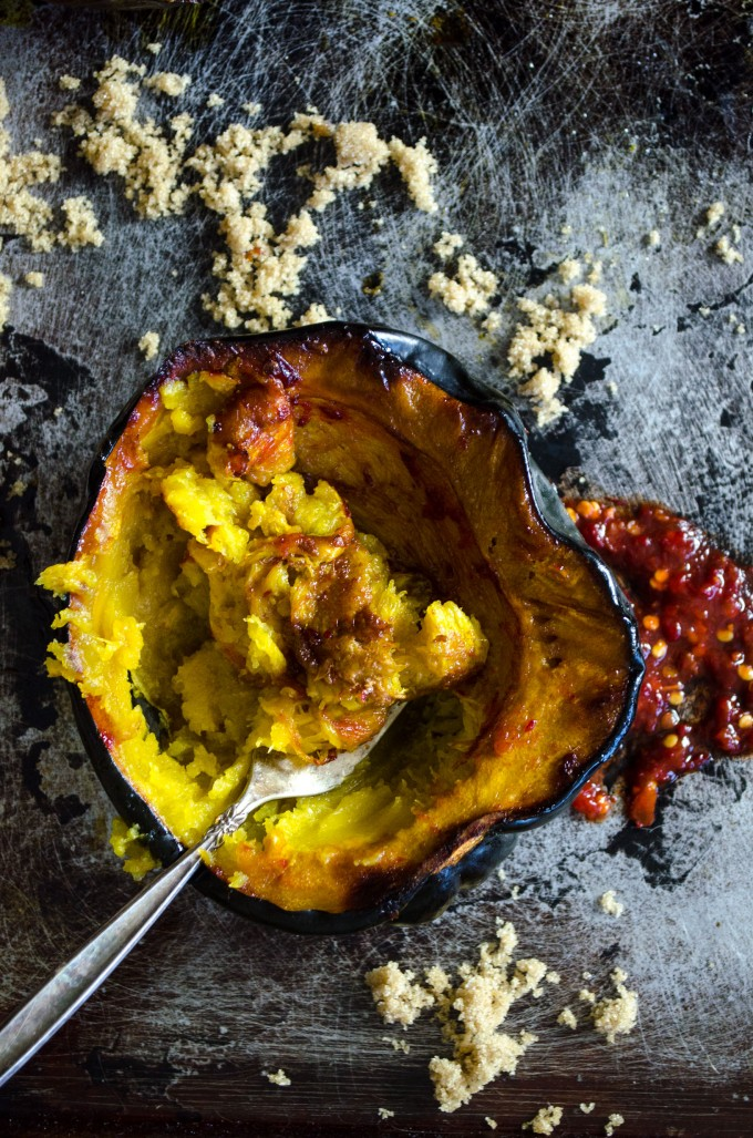 Baked Acorn Squash with Brown Sugar and Chile Recipe | @gogogogourmet