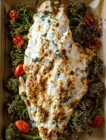 One Pan Baked Grouper with Broccolini and Tomatoes | @gogogogourmet