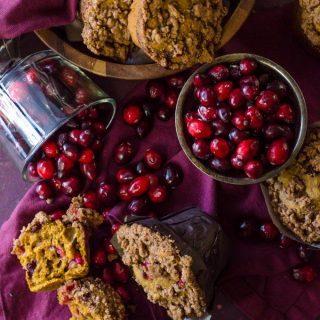 Perfect for Thanksgiving morning! Pumpkin Cranberry Muffins | @gogogogourmet