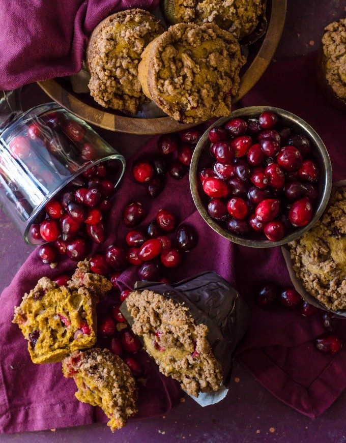 Perfect for Thanksgiving morning! Pumpkin Cranberry Muffins | @gogogogourmet