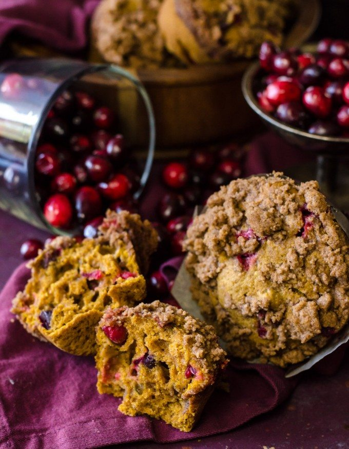 Pumpkin cranberry muffin cut in half