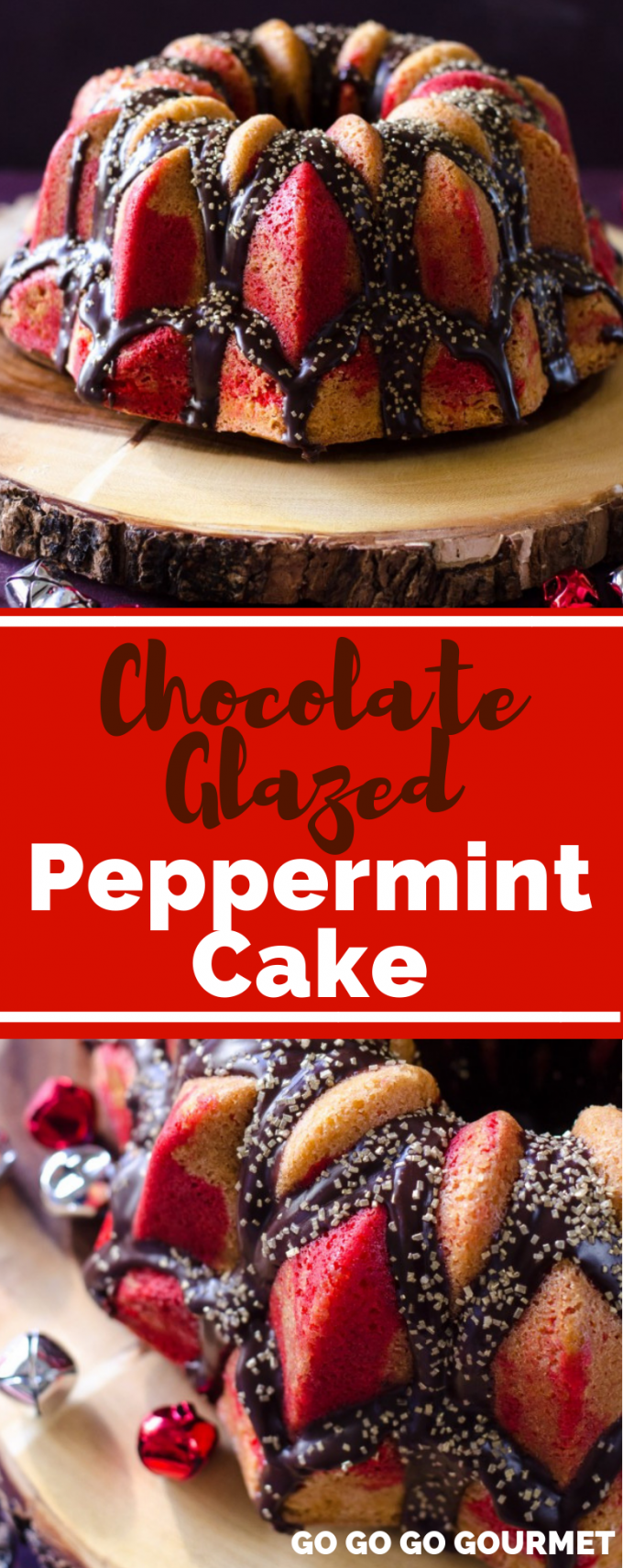 This easy Chocolate Glazed Peppermint Cake recipe is the perfect cake for the holiday! Your Christmas desserts won't be complete without this red and white showstopper! #gogogogourmet #chocolateglazedpeppermintcake #peppermintchristmascake #easychristmasdesserts via @gogogogourmet