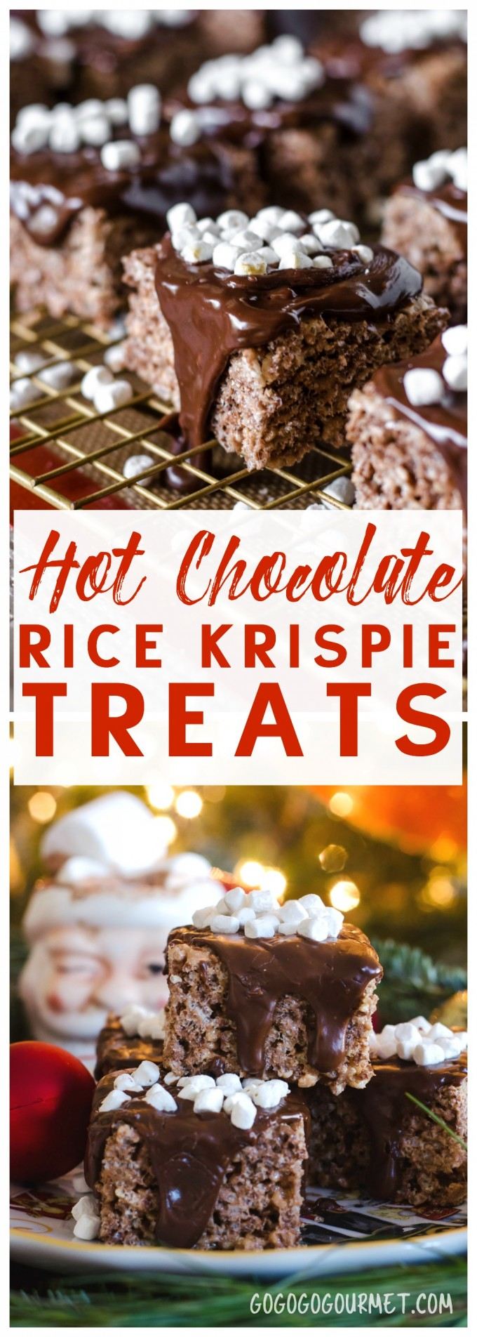 Hot Chocolate Rice Krispie Treats- a fast and easy holiday no-bake treat!!