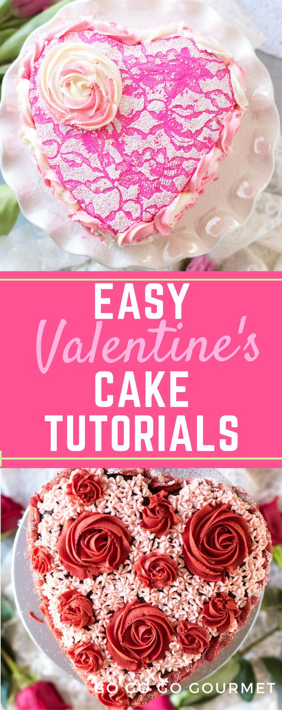 Looking for food related Valentines ideas for? Get ready for Valentines Day dessert with these three easy cake decorating tutorials that anyone can do! #valentine #valentinesday #gogogogourmet #cakeart #cakemixrecipes #cakedecorating