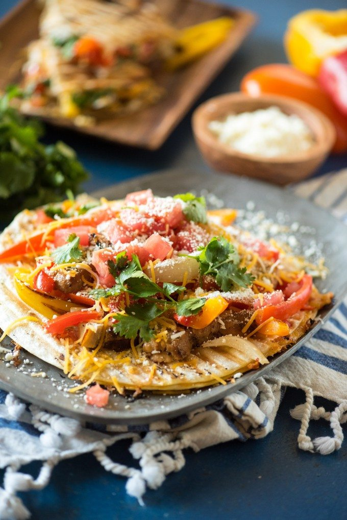 Grilled Chicken Quesadilla Paninis are a great weeknight meal- fast, convenient, tasty and NO dishes!! @gogogogourmet