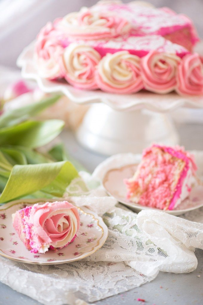 "Lace Rosette Cake- this gorgeous cake is WAY easier than it looks. The perfect ""fake it til you make it"" cake for Valentine's Day! 