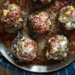 Cheesy Sausage Stuffed Mushrooms- a quick, yet versatile, dish that works as an appetizer or a side dish! | @gogogogourmet