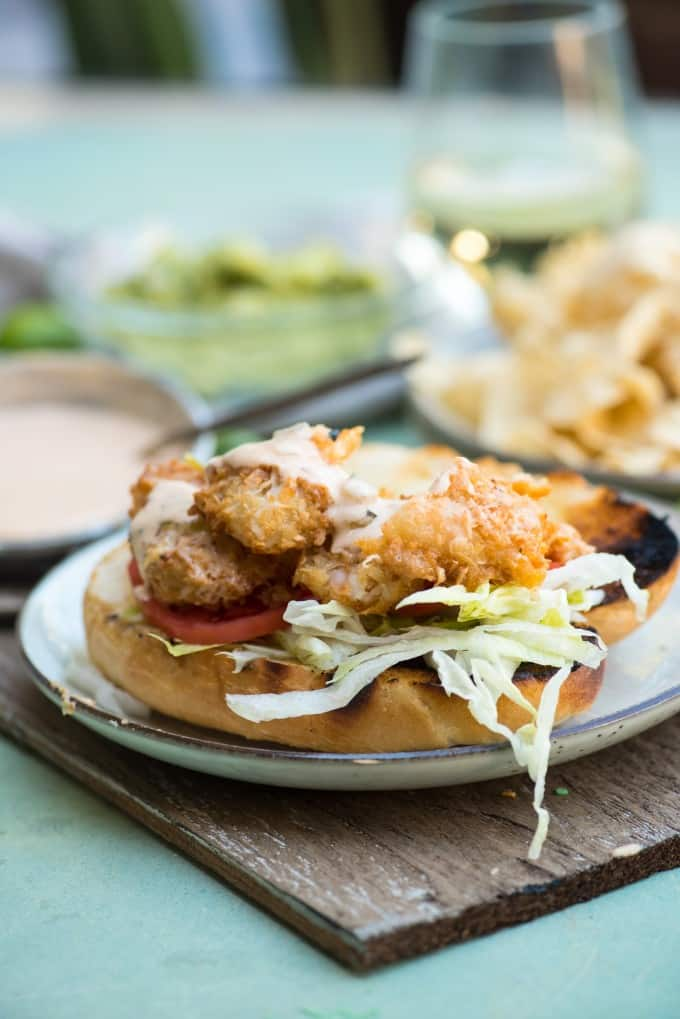Coconut Shrimp Po Boy with Key Lime Tartar Sauce- an easy sandwich with a to-die for sauce! | @gogogogourmet