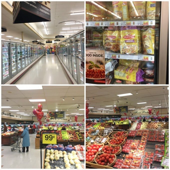 collage of grocery store aisles