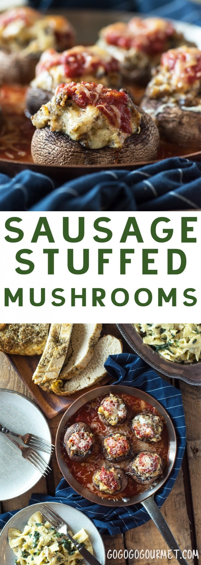 """These Sausage Stuffed Mushrooms are practically """"dump and bake,"""" making them a super fast side dish or appetizer! #gogogogourmet #sausagestuffedmushrooms #stuffedmushrooms via @gogogogourmet"""