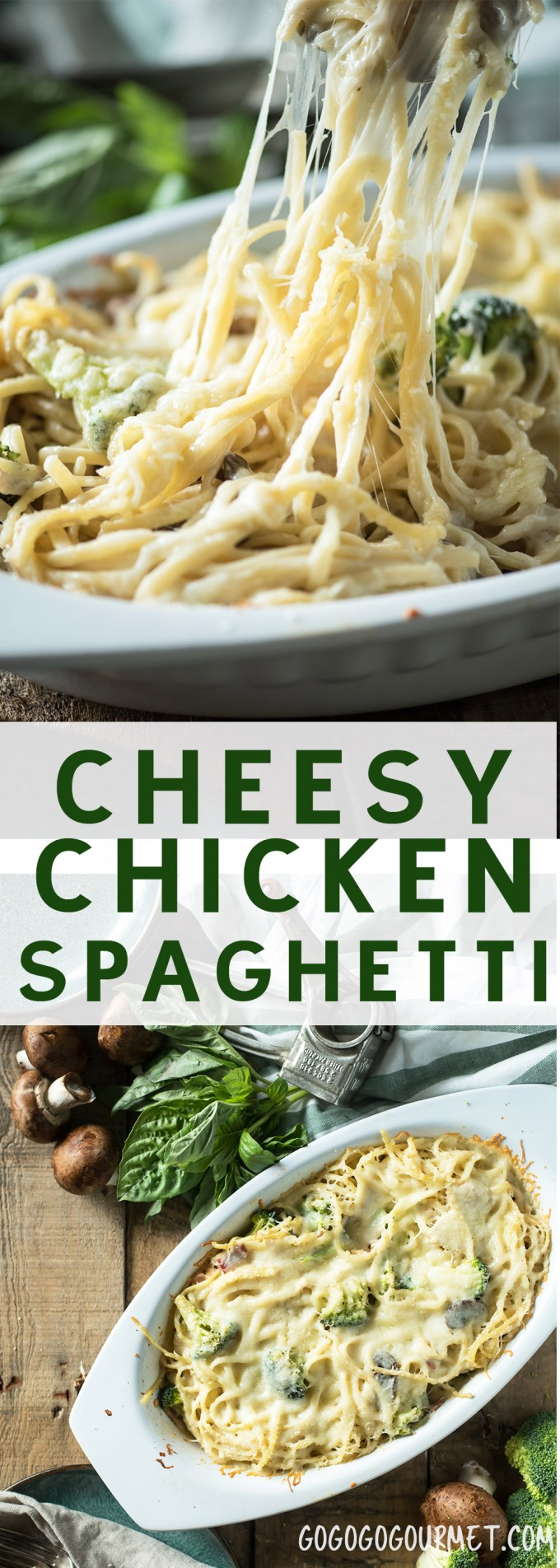 Cheesy Chicken Spaghetti- a fast and easy weeknight meal using rotisserie chicken! |