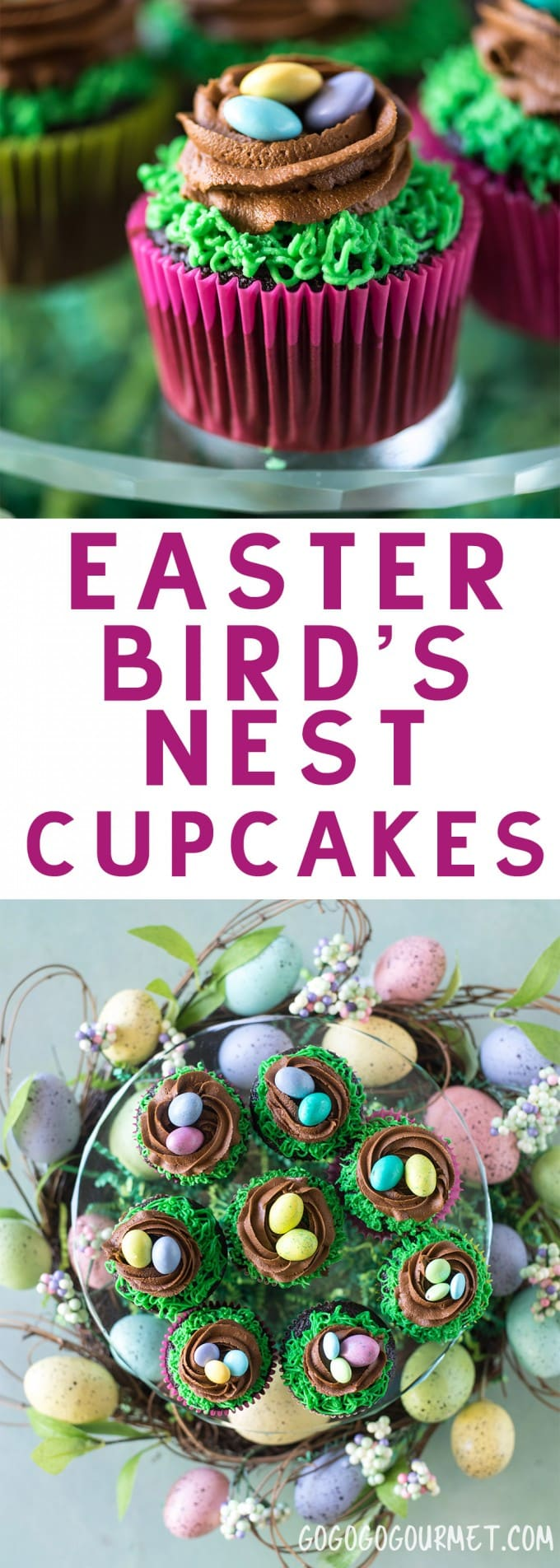 These Easter Birds Nest Cupcakes are an adorable and easy dessert to make for your Easter egg hunts! Two quick decorating maneuvers and some Easter candy are all that it takes!