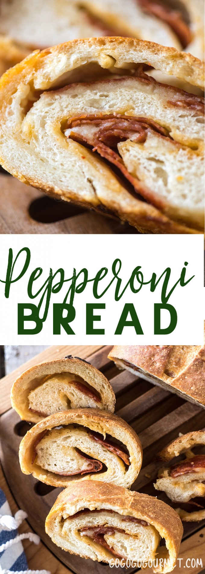 This Pepperoni Bread is a loaf of crusty outside and soft inside Italian bread stuffed with layers of pepperoni and cheese. |