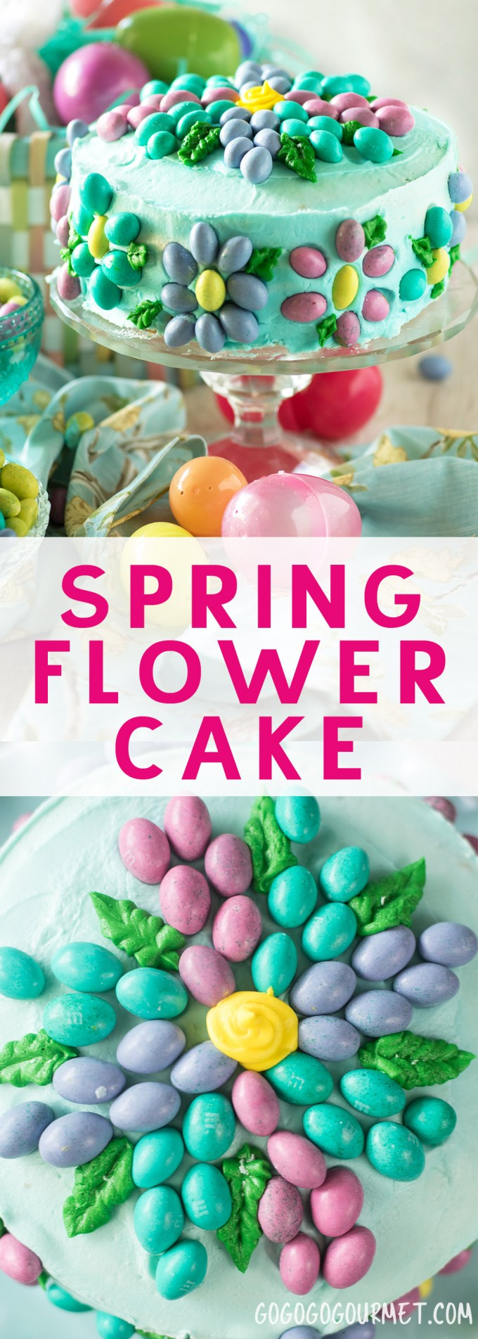 This Spring Flower Cake is super easy to make using your favorite candy and a few simple cake decorating basics. Learn how to