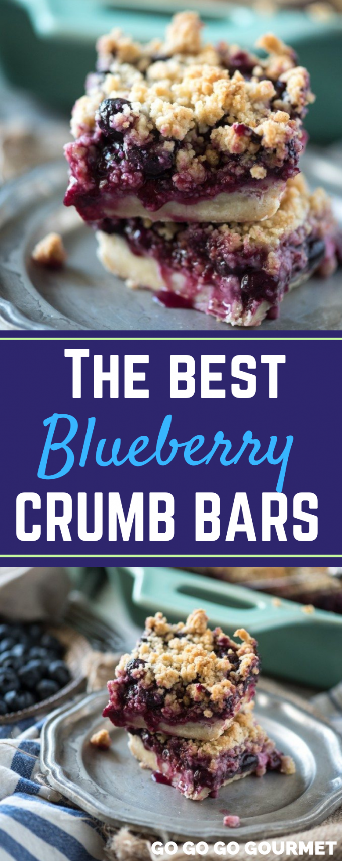 These easy Blueberry Crumb Bars are even better than the Smitten Kitchen recipe! With lemon zest, lots of fresh blueberries, and a crumble topping, these fruit bars are sure to be a hit with everyone! #gogogogourmet #blueberrycrumbbars #blueberrydesserts #springdesserts via @gogogogourmet