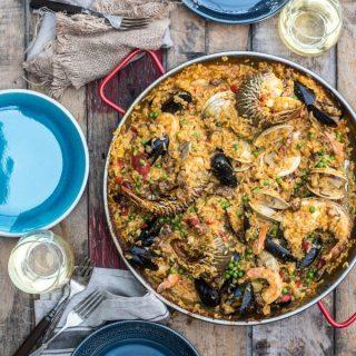 Seafood Paella- a dish packed with flavor! Chorizo, Shrimp, Lobster, Clams, Mussels, Calamari and More! | @gogogogourmet