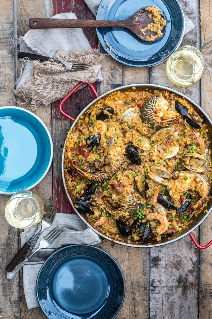 Seafood Paella- a dish packed with flavor! Chorizo, Shrimp, Lobster, Clams, Mussels, Calamari and More! | @gogogogourmet