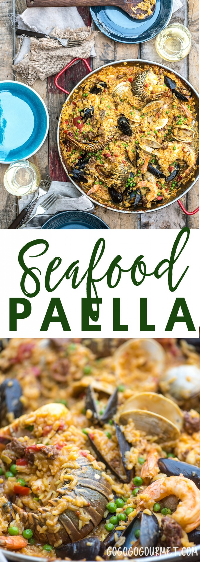 Seafood paella is a flavorful dinner ready to share with friends, chock full of seafood and chorizo.