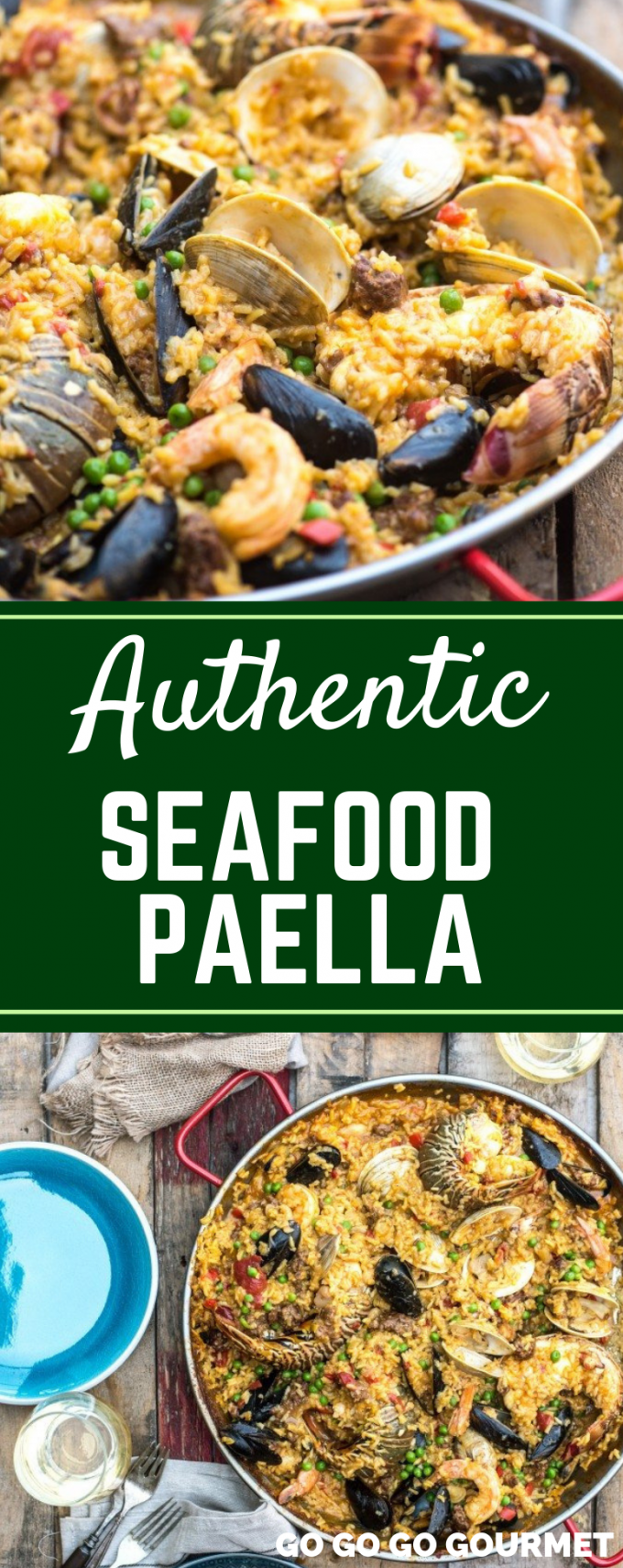 This easy Seafood Paella recipe has authentic Spanish flavor with lobster and lots of other delicious seafood! This traditional dish is also made with chorizo for a complete meal. #gogogogourmet #seafoodpaella #easydinnerrecipes #authenticseafoodpaella via @gogogogourmet