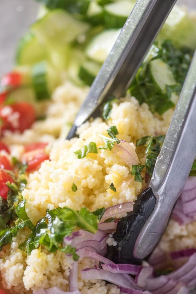 Summer Couscous Salad with Lemon Basil Dressing | @gogogogourmet