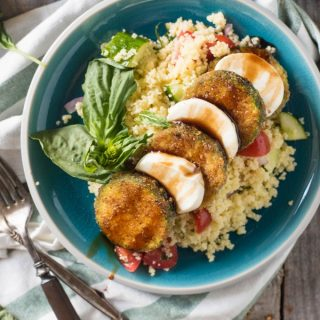 Summer Couscous Salad with Lemon Basil Dressing with Fried Zucchini and Mozzarella| @gogogogourmet