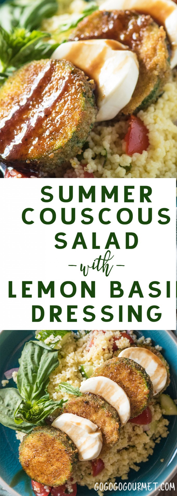 This Summer Couscous Salad with Lemon Basil Dressing is a crisp pasta salad with a tangy dressing. Topping it off with Pan Fried Zucchini and Mozzarella transforms it into a light lunch or dinner!