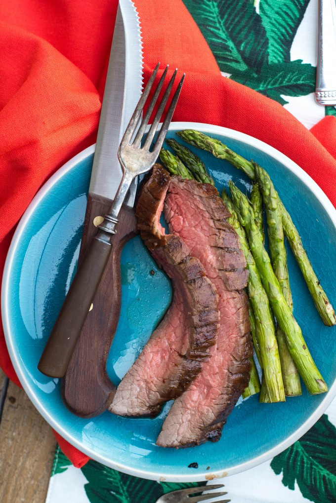 Sweet Heat Grilled Balsamic Marinated Flank Steak | @gogogogourmet