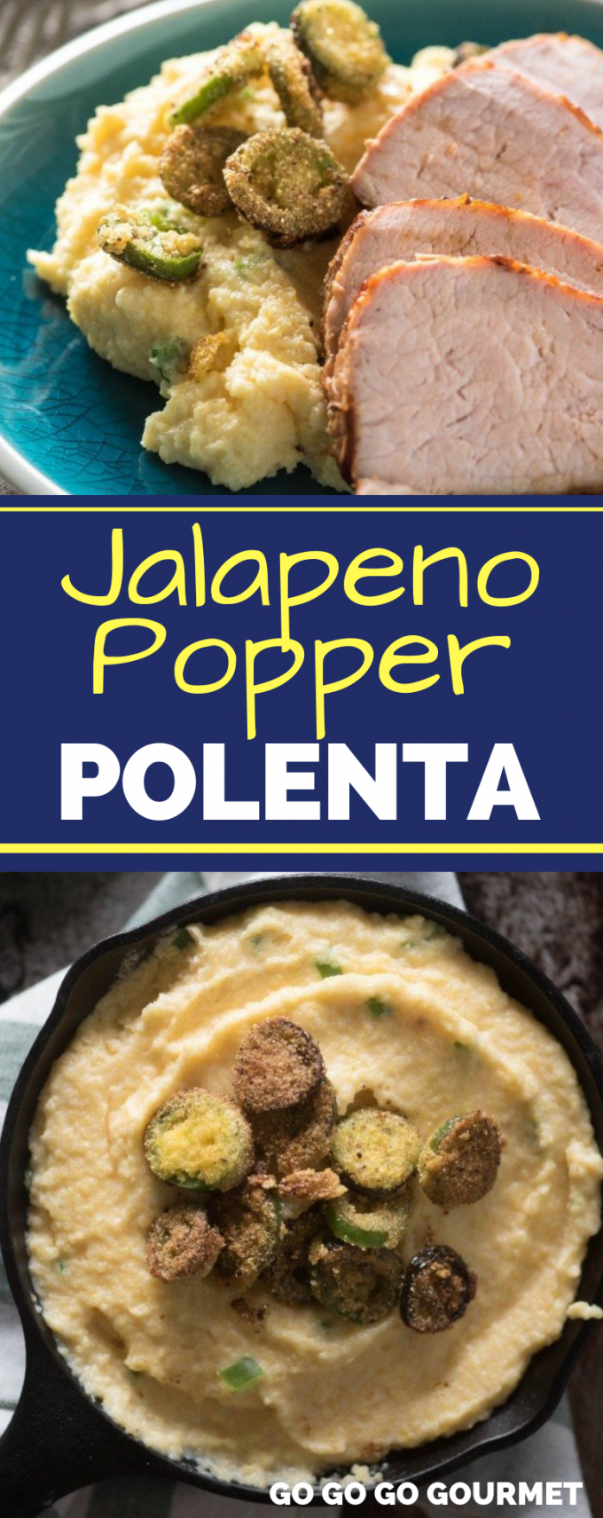 Jalapeño Popper Polenta is packed with flavor and only takes a few minutes to prepare- spicy with jalapeños and cheesy with cheddar, it's an ideal side dish for your summer dinners! #gogogogourmet #jalapenopopperpolenta #polenta #polentarecipe #cheesypolenta via @gogogogourmet