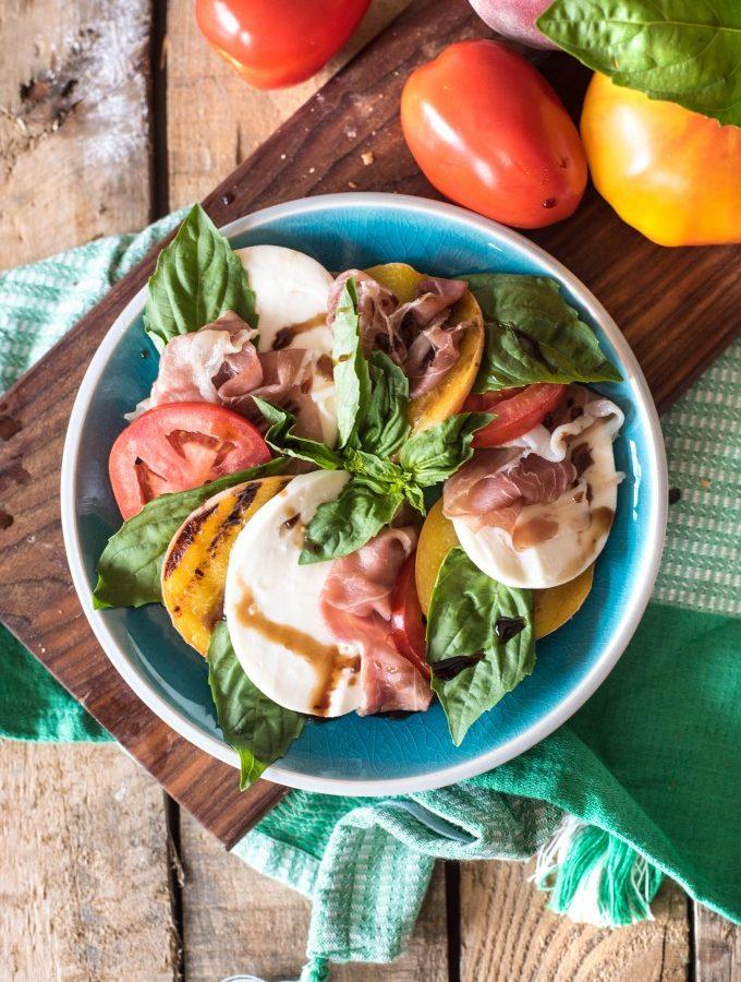 Prosciutto Peach Caprese Salad