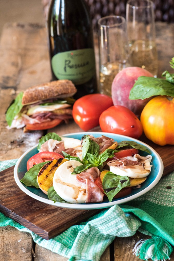 Prosciutto Peach Caprese Salad- Perfect flavors for summer! | @gogogogourmet