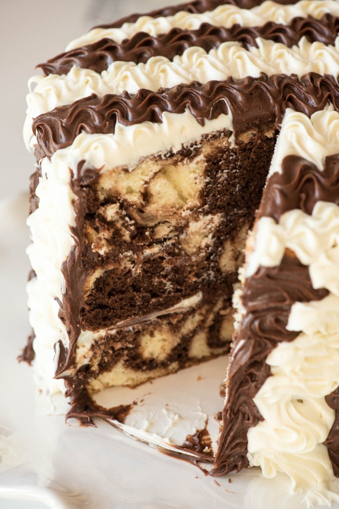 Black and White Stripe Marble Cake | @gogogogourmet