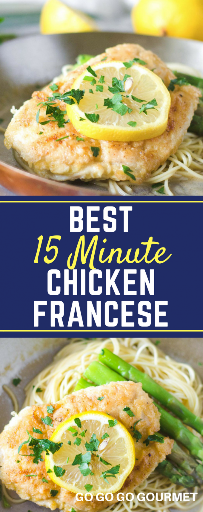 This Chicken Francese recipe is the best- and even healthy! A light and creamy sauce makes this dish perfect over pasta. So easy, its perfect for anything ranging from busy weeknight dinners to parties for a crowd! #chicken #italian #chickenrecipes #easydinner #gogogogourmet via @gogogogourmet