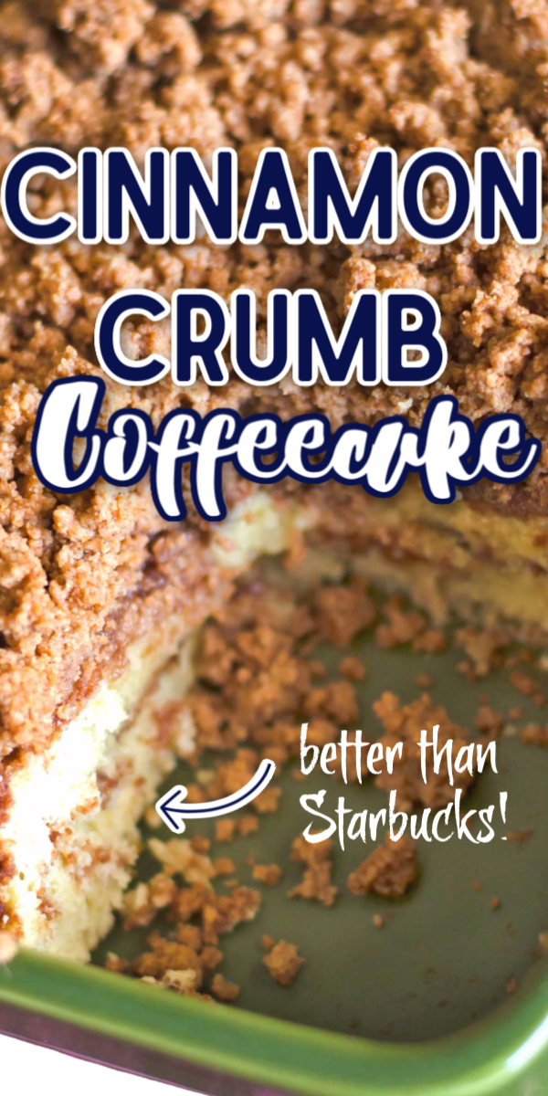 This cinnamon coffee cake recipe is moist, buttery, and full of cinnamon flavor. This is the best recipe for cinnamon crumb cake out there! #breakfast #coffeecake #cinnamon #baking #crumbcake via @gogogogourmet