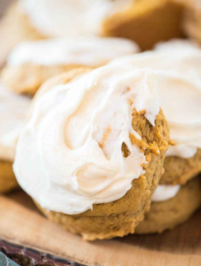 Soft Iced Pumpkin Cookies
