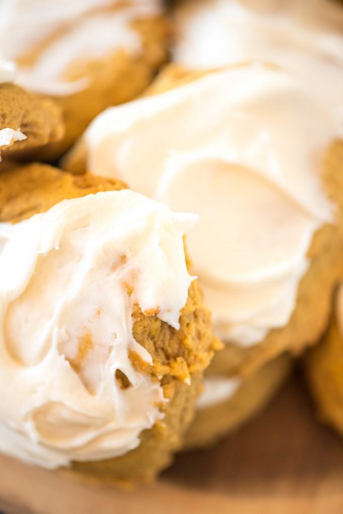 Close up of iced pumpkin cookies