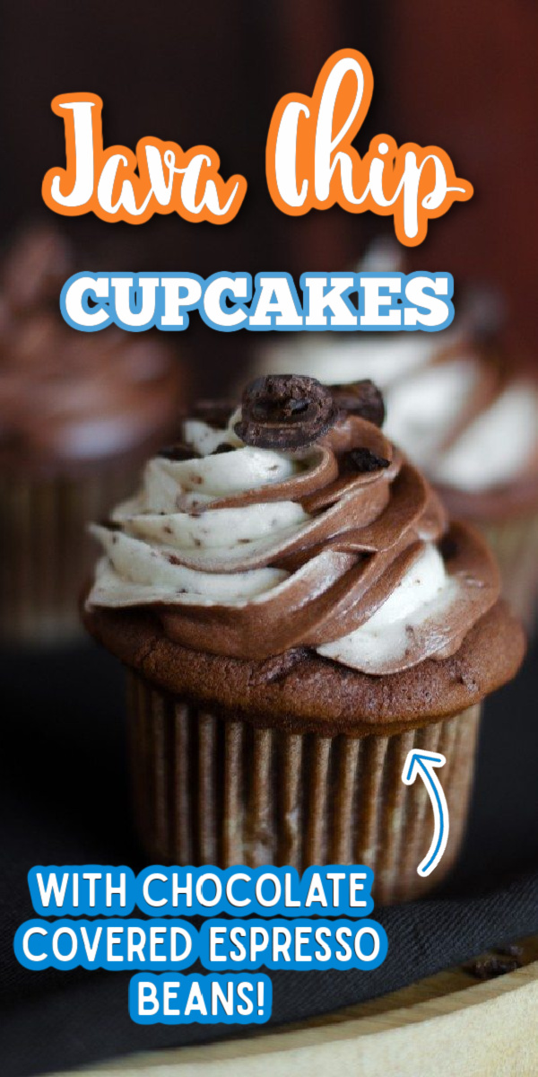 These Java Chip Cupcakes are the cake version of the popular Starbucks Java Chip frappuccino. The frosting is blended with chocolate covered espresso beans! via @gogogogourmet
