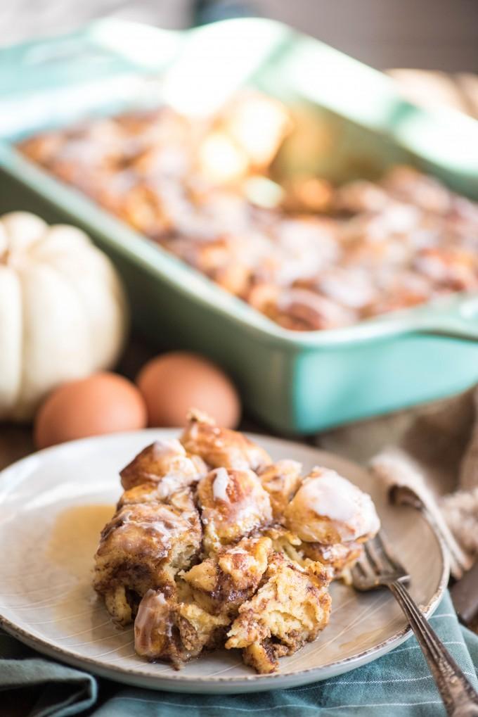 Pumpkin French Toast Casserole is the perfect fall breakfast using ready to bake cinnamon rolls!   @gogogogourmet